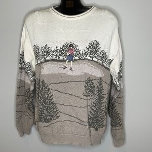 Vintage NORTHERN REFLECTIONS cotton golf sweater L